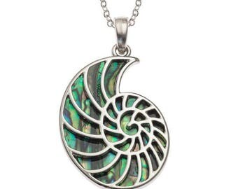 Tide Jewellery Paua Shell Ammonite Fossil Pendant Gift Boxed