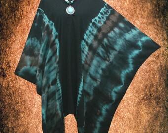 Symmetric Tie dye Wearable Art V neck Poncho Tunic Top blouse