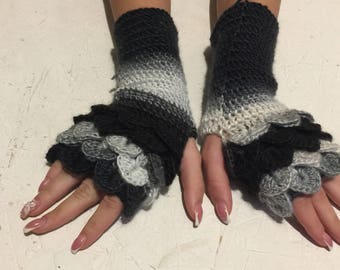 ready to ship! Fingerless Gloves women fingerless gloves Dragon Scale women's gloves women's Arm Warmers winter gift Accessory