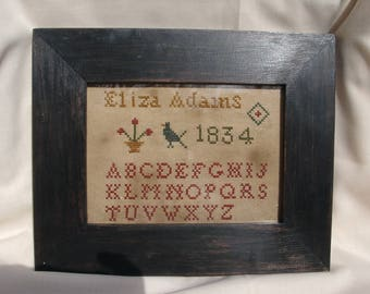 Primitive cross stitch, sampler chart/pattern,primitive needlework, schoolgirl sampler, early American , Eliza Adams