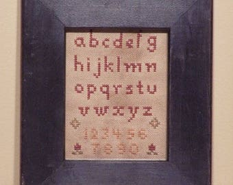 Primitive cross stitch, sampler chart/pattern,primitive needlework, schoolgirl sampler, early American , Alphabet and Numbers