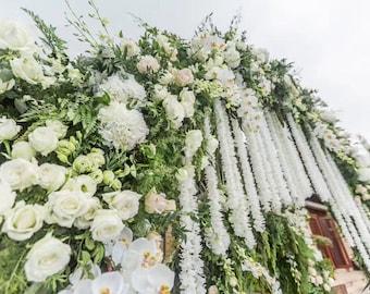 "10 pcs Length 1m/39.4"" Hydrangea Garland Hanging Flowers For Outdoor Wedding Ceremony Decor Silk Wisteria Vine Wedding Arch Floral Decora"