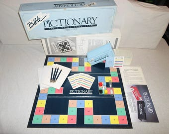 100% Complete ! Pictionary *Bible Edition* Board Game Drawing Guessing Christian Light Blue Catholic Question & Answer M# 2650 Sketch 1987