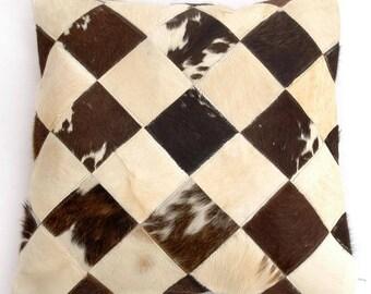 Natural Cowhide Luxurious Patchwork Hairon Cushion/pillow Cover (15''x 15'')a143