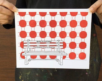 "Baltimore Letterpress Poster | Greatest City in America Bench | grey & red 8"" x 10"" poster"