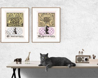 Postage Wall Art: Magyar Posta Chess Postage Reproductions - Set of Two -  Circulated