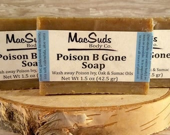 Poison ivy soap, Poison oak soap, Poison sumac soap, Jewelweed soap, Poison B Gone Soap, Oil removing soap
