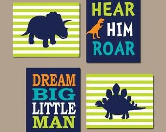 Boy Bedroom Decor Dinosaur Wall Art Dinosaur Decor Nursery Wall Art Dino Theme Dream Big Little Man Hear Him Roar Set of 4 Prints Or Canvas