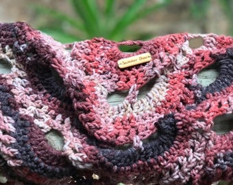 Fall Shawl Crochet Peacock Shoulder Wrap Triangle scarf Burgundy Rust