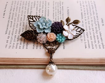 Flower assemblage brooch Duskt blue, purple and peach flower Corsage flowers Flower jewelry Gift for her
