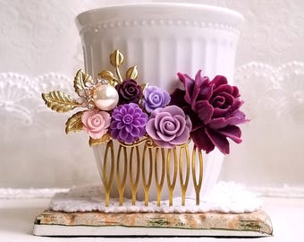 Golden Bridal comb Violet and purple roses Antique inspired country chic Bridal hair accessory Flower wedding comb