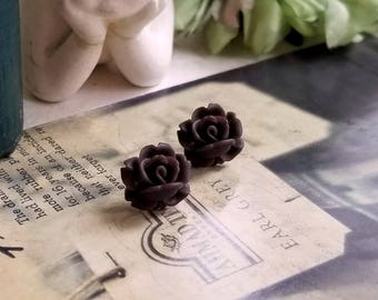 Flower Cabochon earrings Lucite flower Brown rose stud earrings Titanium Post made in USA