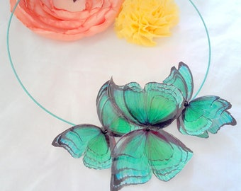 collection 2017 emerald green 3D butterflies necklace