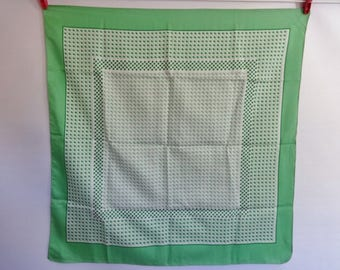 Vintage Scarf Green Geometric 66cm x 67cm