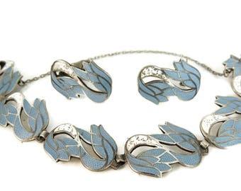 Margot De Taxco Silver Enamel Bracelet Earring Set Vintage Sterling Designer