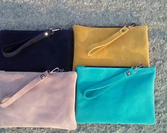 Suede leather wrislet bag in yellow
