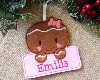 gingerbread christmas decoration, personalised christmas decoration, christmas decoration, tree decoration, gingerbread girl, christmas tree