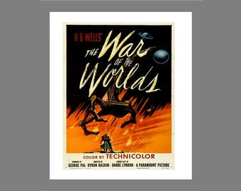 "Poster advertisement on foam board of the movie  "" The war of the worlds """