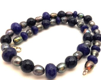 """Vintage Beaded Women Necklace Navy Blue Sapphire Facet Beads Black Freshwater Pearls Long 19.0"""""""