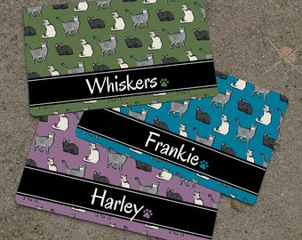 Personalized CATS Themed Placemat - Cat Mat - Pet Food Mat - CAT Patterned Fabric Placemat - Rubber Placemat
