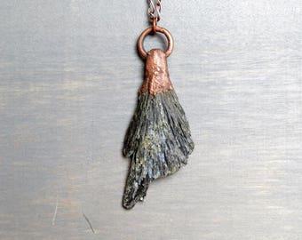 Kyanite Pendant Electroformed Copper Black Kyanite Fan Rustic Stone Copper Necklace Large Gemstone