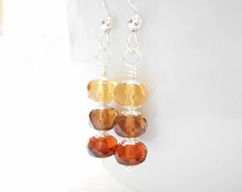 Ombré Brown Earrings, Czech Glass Earrings, Dark Topaz Brown Earrings, Czech Glass Jewelry, Silver Dangle Earrings, Beaded Drop Earrings