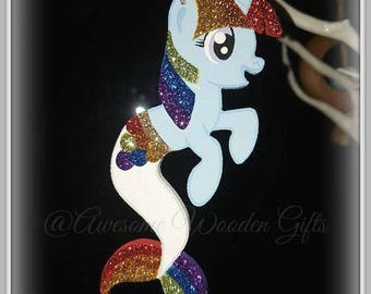 Hand Painted Wooden Rainbow Merponie Twiggy Decoration, 10cm Mermaid Pony Unicorn, Kawaii With or Wothout Glitter