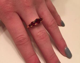 BLACK FRIDAY SALE: Vintage 925 Sterling Silver & 18K Yellow Gold with Beautiful Garnet Gemstones Ring - Authentic Victoria Townsend Ring
