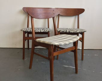 Set of 3 Vintage Danish Modern Farstrup Dining Chairs - Free NYC Delivery!