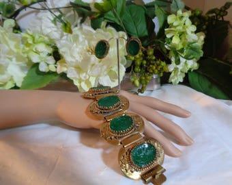 Carved Green Glass Intaglio Lions Rampant Motto Virtute Et Fidelitate (valour and fidelity) Gold Gilt Bracelet Earrings Set Collector Set
