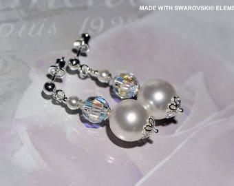Pearl and SWAROVSKI crystal earrings / 925 sterling silver