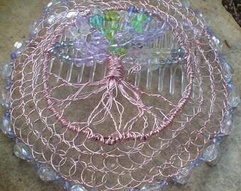 Tree of Life Kippah with Crystal Border