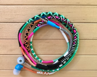 Earbuds, Wrapped Earbuds, Iphone Earbuds, Colorful Earbuds, Tangle Free Earbuds, Design Earbuds, Iphone Earpods, Handmade Earbuds