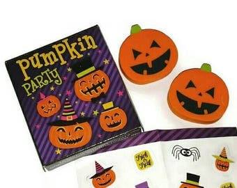 PUMPKIN PARTY Erasers Set of 2, Cute Miniature Halloween Stickers Jack O'Lantern Eraser Kawaii Halloween Stationery Set Mini Pumpkin Sticker