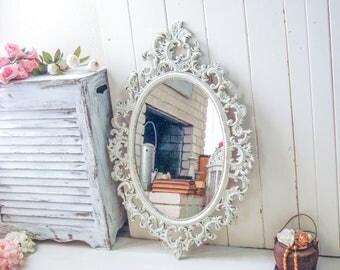 Farmhouse White Oval Vintage Mirror, Rustic Ornate Mirror, Antique White Mirror, Shabby Chic Nursery Mirror, Cottage Chic Bathroom Mirror