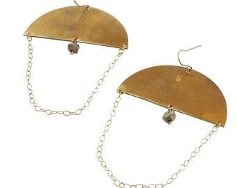 Semi Circle and Pyrite Dangle Earrings; Statement Earrings; Boho Earrings; Festival Jewelry; Pyrite; Gemstone Earrings; Gemstone Jewelry