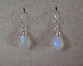 Moonstone Earrings - June Birthstone - Sterling Silver