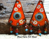 Enameled Earring Charms Blue Hare Art Wear Jewelry Components Jewelry Supplies
