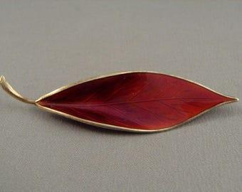 """Vintage David Andersen 925 Sterling Silver Red Enamel Leaf Pin Brooch 2.75"""""""
