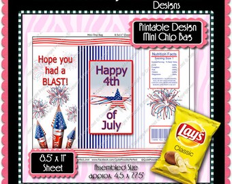 Digital Have a Blast 4th of July Mini Chip Bag - Instant Download (M185) Digital Party Graphics - PERSONAL USE Only