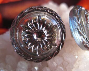 Star or Snowflake with Twisting Braid In Silver with Blue Iridescent Glass Czech Button  18mm