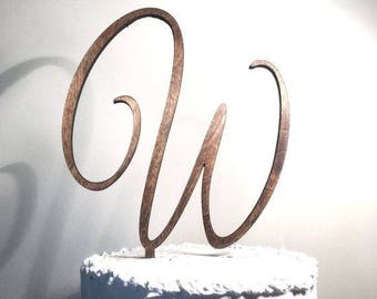 Personalized Cake Topper, Wooden Cake Topper, Script Letter Cake Topper, Wedding Cake Topper, Cake Topper, Rustic Cake Topper, Custom