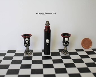 Playscale Miniature Gothic Spooky Goblets and Bottle in 1:6 scale for barbie,blythe, monster high,phicen bjd