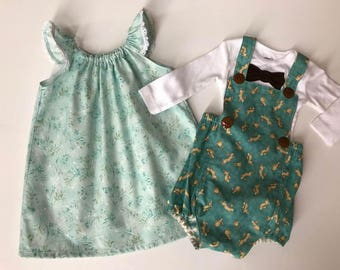 Easter Twins, Sister Brother Holiday Outfit, Matching Spring Outfits, Matching Sibling Easter Outfits, Matching Sister Brother