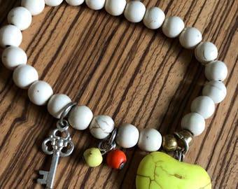 Yellow hesrt and silver key charm bracelet
