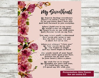 Valentine's Day Poem, Love Poem Printable, Poetry Print, Gift for Boyfriend, Husband, Gift for Girlfriend, Wife Poem, Valentine's Day Card
