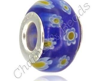 1 blue Millefiori glass charm bead compatible pandora