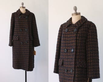 WINTER SALE 30% OFF! vintage 60s coat   black and brown houndstooth coat   chunky wool coat   vintage 1960s plaid wool coat