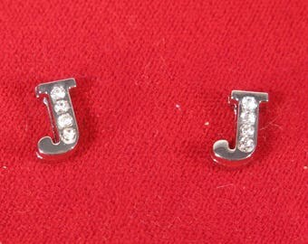 """10pc """"letter J"""" 8mm slide charms in antique style silver (BC1375-J)"""
