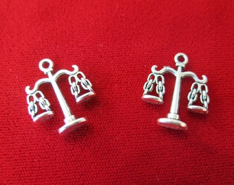 """BULK! 15pc """"scale"""" charms double-sided in antique silver style (BC82B)"""